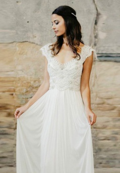 A-Line V-Neck Cap Sleeves Long Chiffon Wedding Dress with Beading