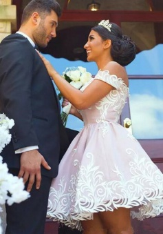 Ball Gown Off-the-Shoulder Short Pink Satin Wedding Dress with Lace