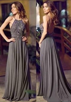 A-Line Halter Sleeveless Floor-Length Backless Grey Chiffon Prom Dress with Beading