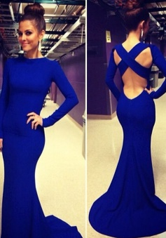 Mermaid Scoop Long Sleeves Sweep Train Criss-Cross Straps Prom Dress
