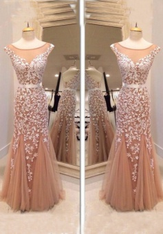 Glamorous Mermaid Bateau Tulle Floor Length Champagne Cocktail/Prom Dress With Appliques