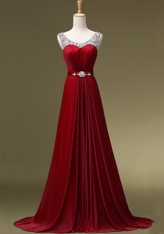 Hot-selling A-line Sequined Burgundy Long Chiffon Prom Dress