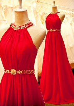 Stunning Halter Sweep Train Sleeveless Ruched Red Prom Dress with Beading