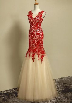 Mermaid Halter Scoop Light Champagne Tulle Prom Dress with  Red Lace