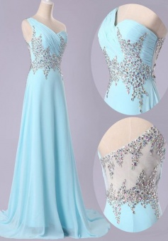 Glamorous One Shoulder Sweep Train Sky Blue Prom Dress with Beading Ruched