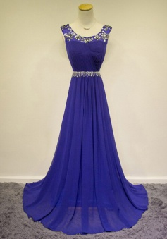 Popular Scoop Sleeveless Floor-Length Royal Blue Ruched Prom dress with Beading
