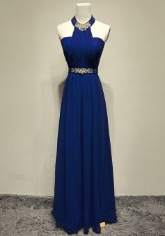 Simple Dress Unique Design Beading Halter Royal Blue Floor-length Chiffon 2015 Prom Dresses/Evening Dresses CHPD-7011