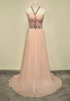 Elegant Halter Floor-Length Ruched Pink Prom Dress with Beading