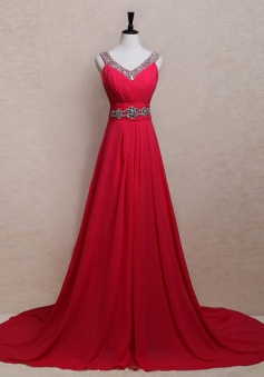 Popular A-line Rhinestones V-neck Long Chiffon Prom / Evening Dress