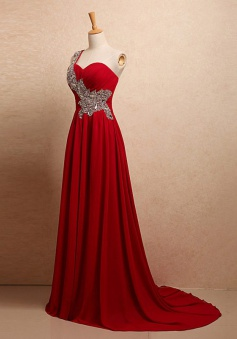 High Quality One Shoulder Sweep Train Red Ruched Prom Dress with Beading Sash