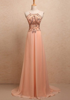 A-Line Halter Spaghetti Straps Sweep Train Peach Chiffon Prom Dress with Beading