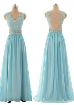 A-Line V-Neck Long Light Sky Blue Chiffon Prom Dress with Appliques