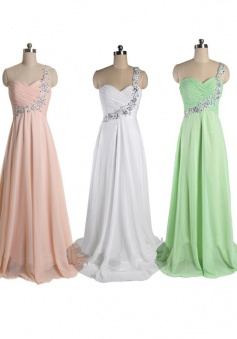 Simple A-line Beading One-shoulder Long Chiffon Prom Evening Dress