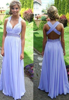 A-Line V-Neck Sleeveless Lavender Chiffon Prom Dress with Beading