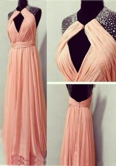 Elegant Jewel Sleeveless Floor-Length Backless Ruched Prom Dress with Beading Key-hole