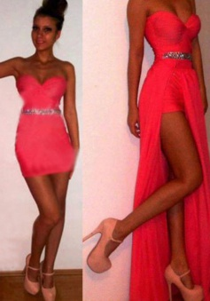 A-Line Sweetheart Sleeveless Detachable Long watermelon Chiffon Prom Dress