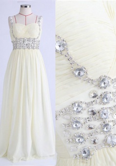A-Line Square Neck Sleeveless Floor-Length White Prom Dress with Beading