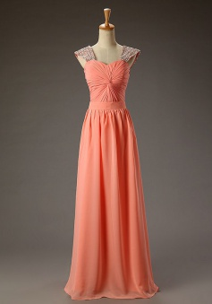 Elegant Scoop Sleeveless Floor-Length Coral Ruched Prom Dress with Sequins