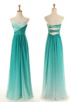A-Line Sweetheart Gradual Color Long Green Chiffon Prom Dress with Beading