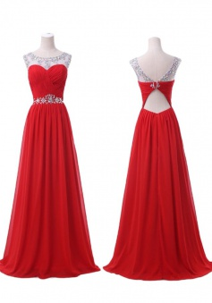 A-Line Crew Neck Floor-Length Red Chiffon Prom Evening Dress with Beading