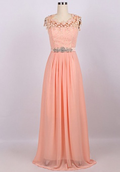 Elegant Scoop Handmade Flowers Long Chiffon Beading Prom Dress