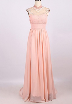 Hot-selling A-line High-neck Long Chiffon Prom Dress with Appliques