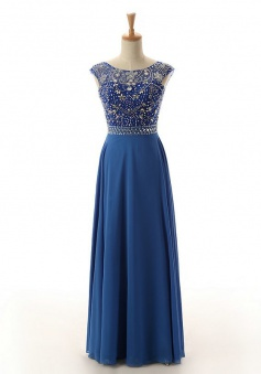 A-Line Bateau Floor-Length Open Back Royal Blue Prom Dress with Beading