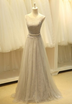 Elegant Bateau Sleeveless Floor-Length Prom Dress with Beading Waist Lace