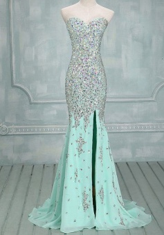 Mermaid Sweetheart Sweep Train Mint Chiffon Prom Dress with Beading