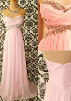 Stunning Sweetheart Sweep Train Pink Prom Dress with Beading