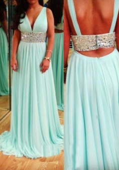 A-Line V-Neck Sweep Train Backless Mint Chiffon Prom Dress with Beading Waist