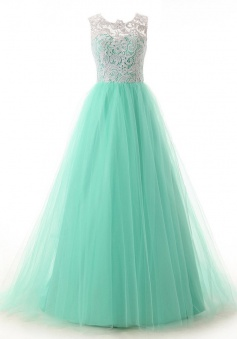 A-Line Scoop Sleeveless Floor-Length Mint Tulle Prom Dress With Lace