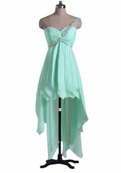 Special One Shoulder High-low Ruched Prom Dress with Beading