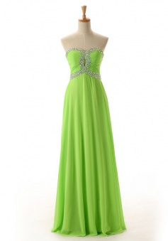 A-Line Sweetheart Floor-Length Green Chiffon Prom Dress with Beading
