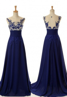 A-Line Crew Neck Sleeveless Sweep Train Royal Blue Prom Dress with Appliques Beading