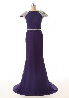 Mermaid Bateau Cap Sleeves Sweep Train Purple Prom Dress with Beading
