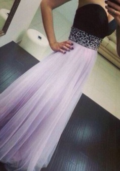 A-Line Sweetheart Floor-Length Backless Lavender Tulle Prom Dress with Beading
