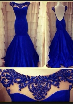 Mermaid Bateau Cap Sleeves Sweep Train Backless Royal Blue Prom Dress with Beading