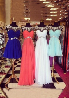 A-Line Scoop Open Back Chiffon Long/Short Prom Dress with Beading