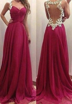 A-Line Straps Floor-Length Illusion Back Burgundy Chiffon Prom Dress With Appliques