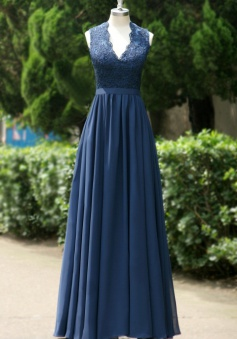 Simple Dress Royal Blue Chiffon Long Prom Dresses, V-neck Open-back Prom Dresses/Evening Dresses CHPD-7117