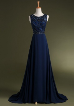Elegant Scoop Beading Navy  Blue Long Chiffon Prom Dress