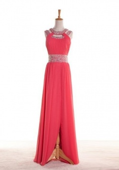 A-Line Jewel Floor-Length Watermelon Chiffon Prom Dress with Beading