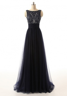Elegant Beading Scoop Open-back Ribbon Black Long Tulle Prom Dress