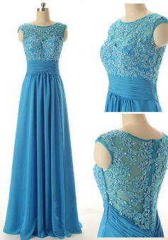 Simple Dress Elegant Scoop Long Beading Chiffon Prom Dresses, Evening Dresses CHPD-7121