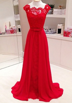 A-Line Scalloped-Edge Cap Sleeves Floor-Length Red Prom Dress with Lace Top