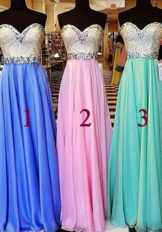 Simple Dress Elegant A-line Sweetheart Beading Long Chiffon Prom Dresses, Graduation Dresses CHPD-7125