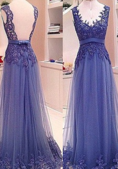 A-Line V-Neck Floor-Length Backless Blue Tulle Prom Dress with Appliques