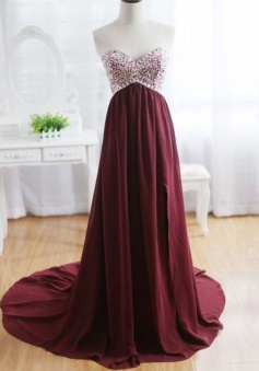 A-Line Sweetheart Sweep Train Wine Red Chiffon Prom Dress with Beading