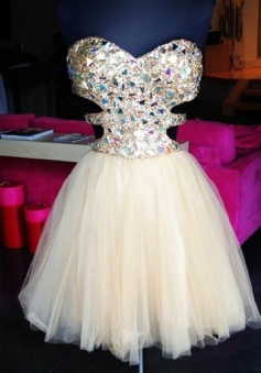 A-Line Sweetheart Backless Short Pearl Pink Tulle Prom Dress with Beading